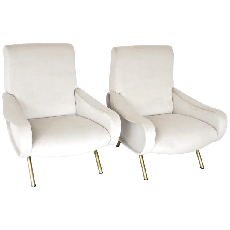Pair of Marco Zanuso Italian Lady Lounge Chairs for Arflex For Sale