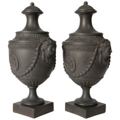 Pair of Antique Black Basalt Covered Urns 18th Century