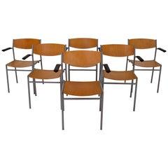 Set of 26 Gijs Van Der Sluis Modern Industrial Armrest Chairs in Blond Plywood
