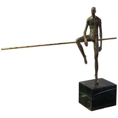 Bronze Sculpture Half Seated Man, Germany, Contemporary