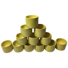 12 Ceramic Yellow Bijorn Wiinblad Egg Cups from the 1960's Rosenthal