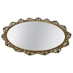 Large Gold Vintage French Filigree Oval Brass Vanity Tray with Mirror
