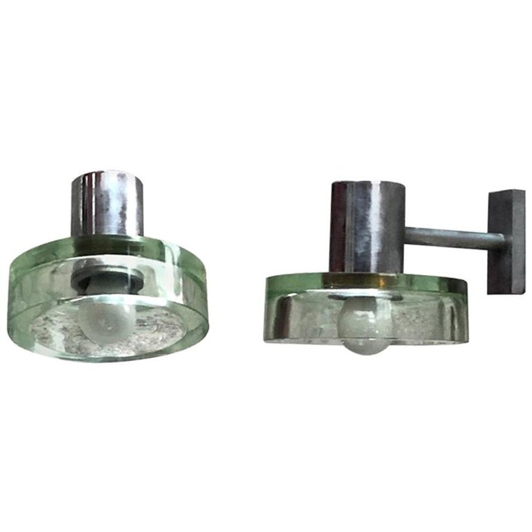 Pair of Glass Sconces by Flavio Poli for Seguso, Italy, 1960s For Sale