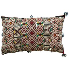 Vintage Moroccan Kilim Sequined Throw Pillow Handwoven Wool Berber Tribal