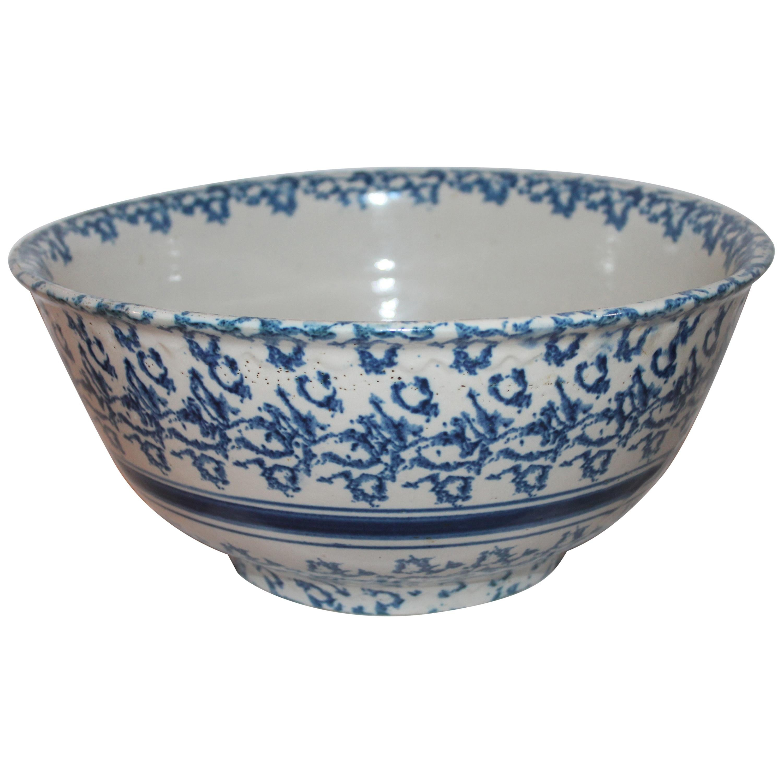 19th Century Sponge Ware Pottery Mixing Bowl