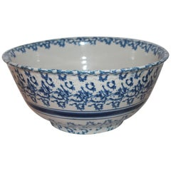 19th Century Sponge Ware Pottery Mixing Bowl