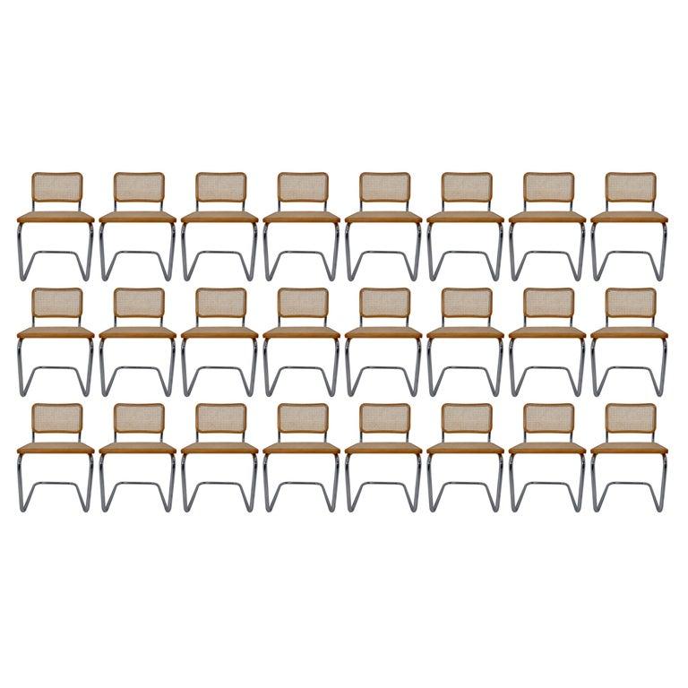 Marcel Breuer Bauhaus Cesca Dining Room Chairs, 1970s, Set of 24