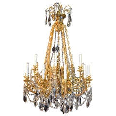 Fine Gilt Bronze and Crystal Chandelier
