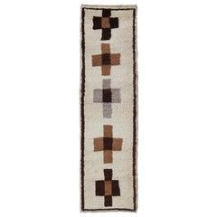 Minimalist Vintage Turkish Tulu Gallery Rug with Cross Motifs in Tan, Gray, Onyx