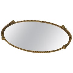 Vintage French Rope and Tassels Large Oval Brass Vanity Tray with Mirror