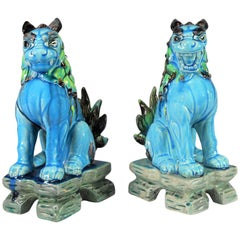 Vintage Midcentury Pr Japanese Komainu Lion Dogs Ceramic Turquoise Green Glaze