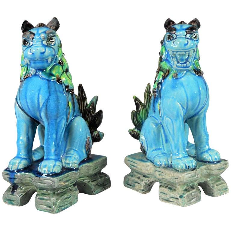 Vintage Midcentury Pr Japanese Komainu Lion Dogs Ceramic Turquoise Green Glaze For Sale