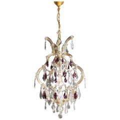 Maria Theresa Crystal Purple Chandelier Antique Ceiling Lamp Lustre Art Nouveau