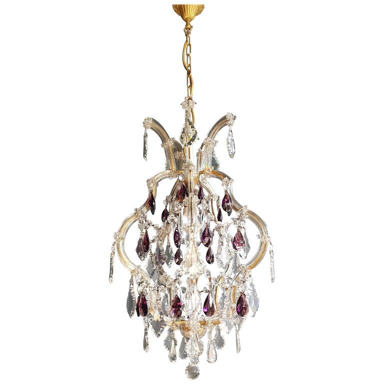 Maria Theresa Crystal Purple Chandelier Antique Ceiling Lamp Re Art Nouveau