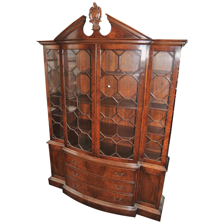 20th Century English Burr Walnut Bookcase or Breakfront