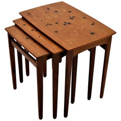 Scandinavian Modern, Nesting Tables in Teak by Svend Aage Madsen, 1950s