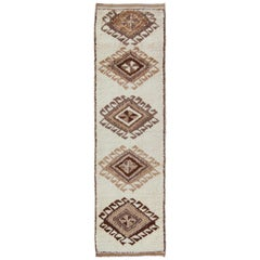 Vintage Turkish Tulu Gallery Rug with Tribal Diamond Design in Cream and Brown