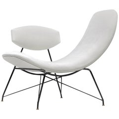 Martin Eisler Reversible Chair Reupholstered in White Linen