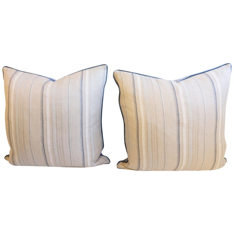 Magnificent Throw Pillows With Striped Linen And Blue Velvet For Sale At Theyellowbook Wood Chair Design Ideas Theyellowbookinfo