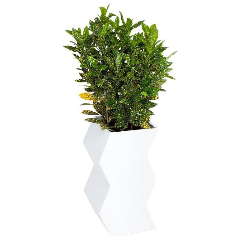 Zig Zag Planter by Pieces, Modern White Fiberglass Planter For Sale