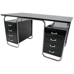 Restored Bauhaus Black Lacquered Wood Desk with Chrome Steel by Marcel Breuer