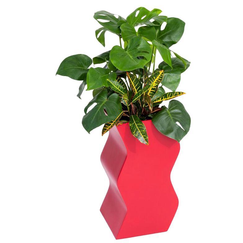 Curvy Planter by Pieces, Red Fiberglass Planters