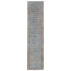Blue Malayer Runner Antique Persian with Flowers in Light Tones