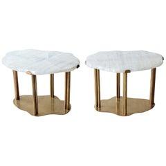 Pair of Cloud Form Rock Crystal Quartz Coffee Tables