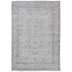 Light-Toned Antique Persian Lavar Kerman Rug with All-Over Vining Flowers Design