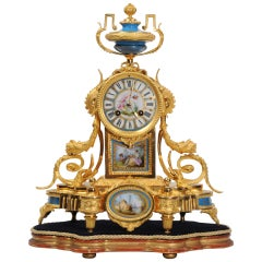 Japy Freres Antique French Ormolu Bronze and Sevres Porcelain Clock, Dog