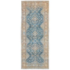 Antique Persian Tabriz Gallery Rug with Floral Design in Blue, Nude, Blush