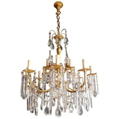 Gilded Crystal Bohemia Chandelier Antique Ceiling Lamp Lustre Art Nouveau Candel