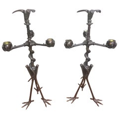 Pair of French 19th Century Bronze Candelabra with Animal Motif