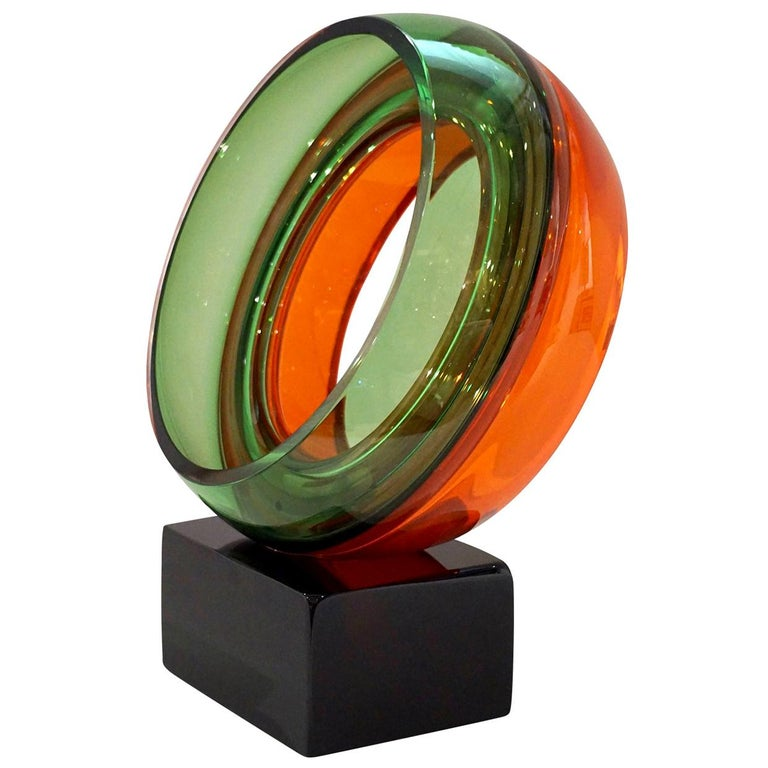 Paolo Crepax Italian Green Orange Red Murano Art Glass Abstract Sculpture For Sale