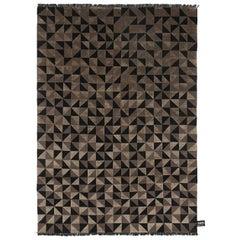 Black & Beige Wool and Silk Mid Mod Geometric Rug CC-Tapis