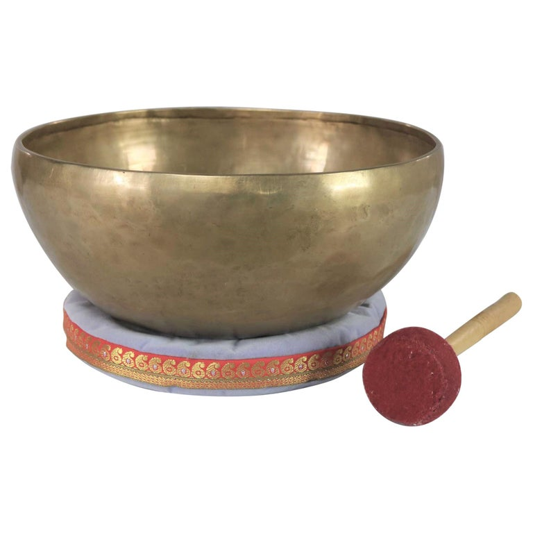 Vintage Bronze Handmade Singing Bowl or Standing Bowl with Mallet on Pillow For Sale