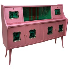 Italian Midcentury Bar Cabinet in Pink Lacquer with Malachite Panels