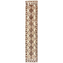 Vintage Turkish Tulu Runner with Diamond Design in Cream, Brown, and Taupe