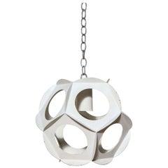 Preben Dahl Style White Enameled Steel Hanging Pendant, 1960s