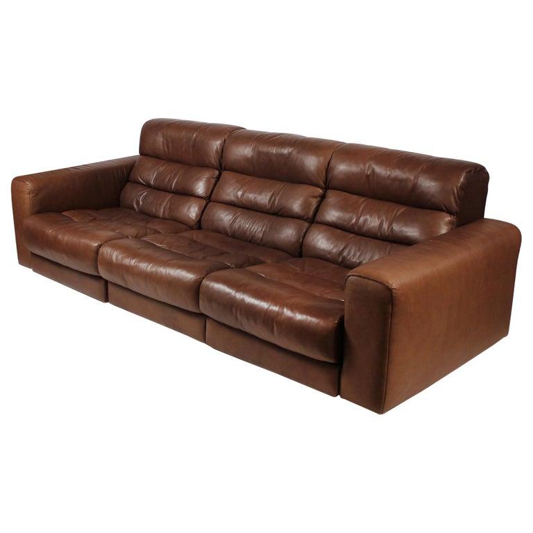 1970s De Sede Reclining Sofa in Buffalo Hide Leather For Sale