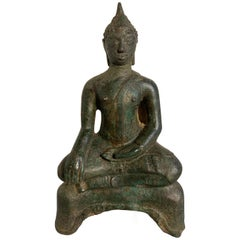 Small Thai Ayutthaya Seated Bronze Buddha Maravijaya, 16th Century
