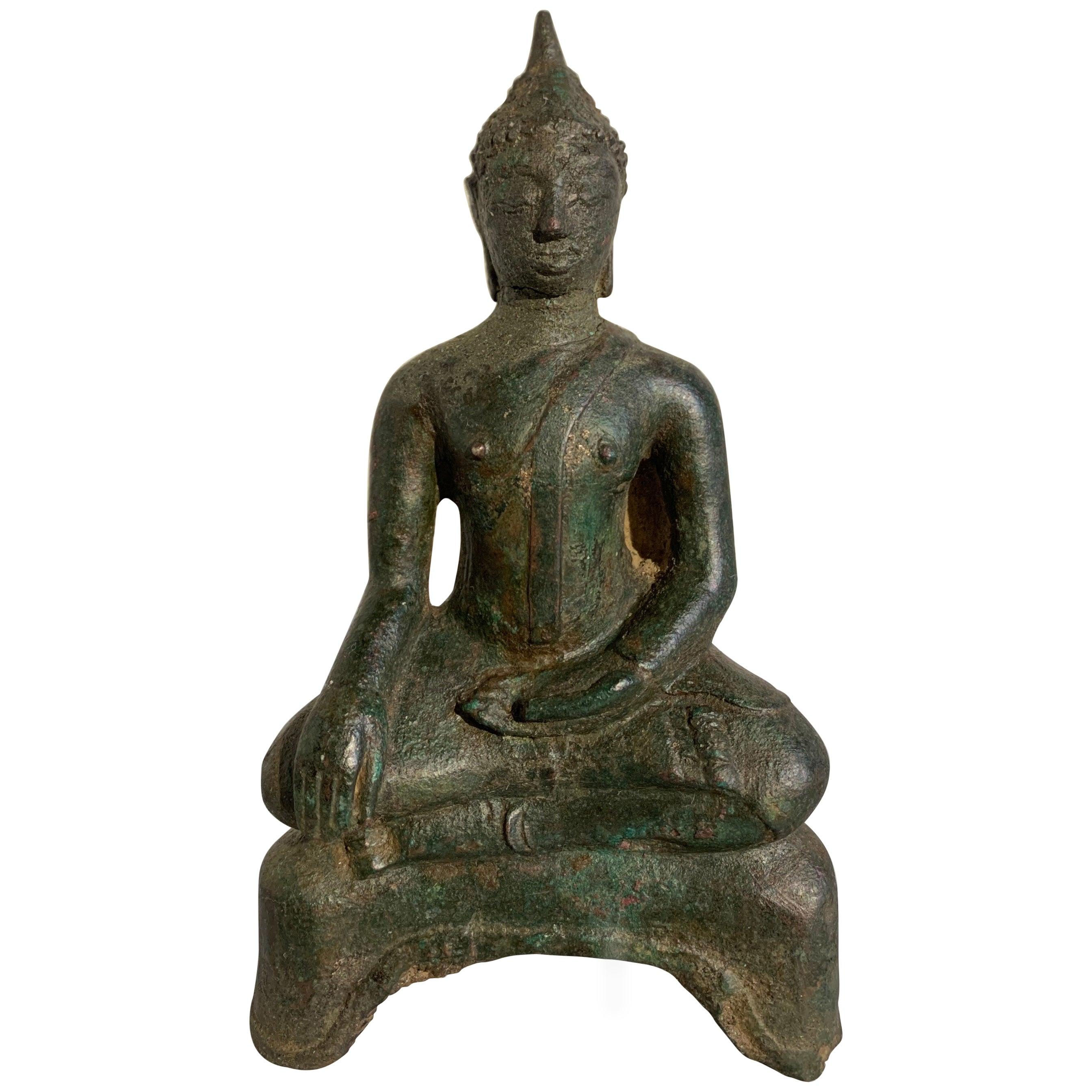 Small Thai Ayutthaya Seated Bronze Buddha Maravijaya, 16th Century