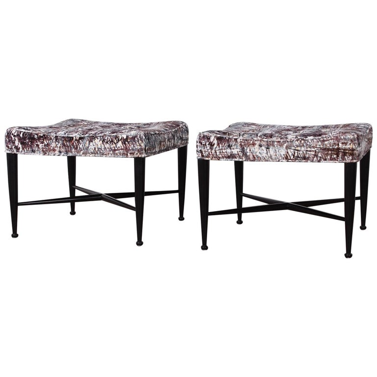 Pair of Dunbar Thebes Stools by Edward Wormley  For Sale