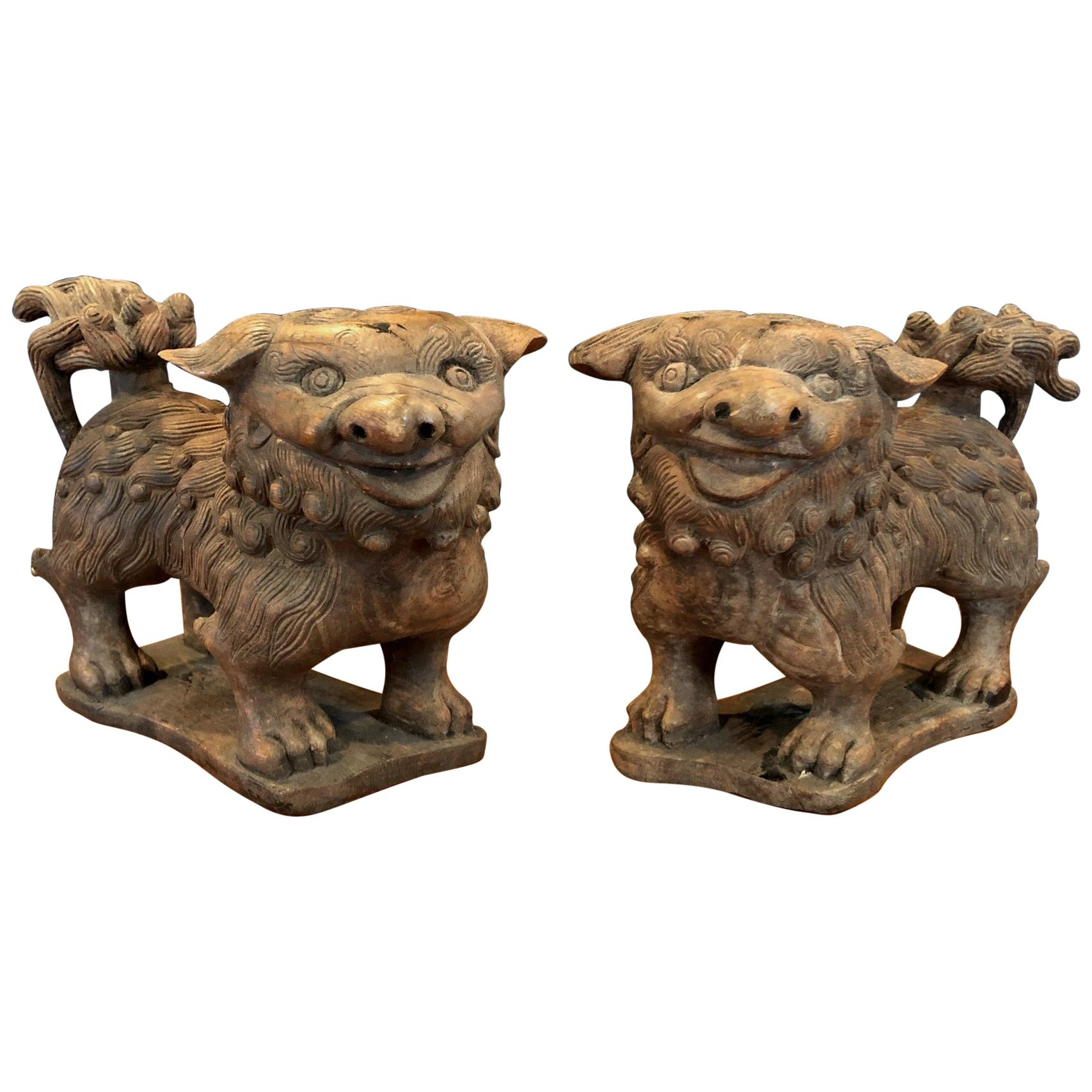 Antiques The Best Pair Vintage Hand Carved Chinese Wooden Foo Dogs