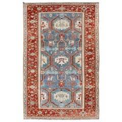 Red, Blue, and Ivory Antique Persian Malayer Rug with Blossom Design