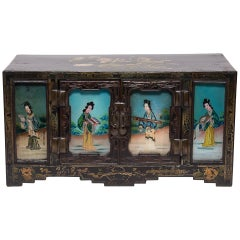 19th Century Chinese Chest with Reverse Glass Painted Panels