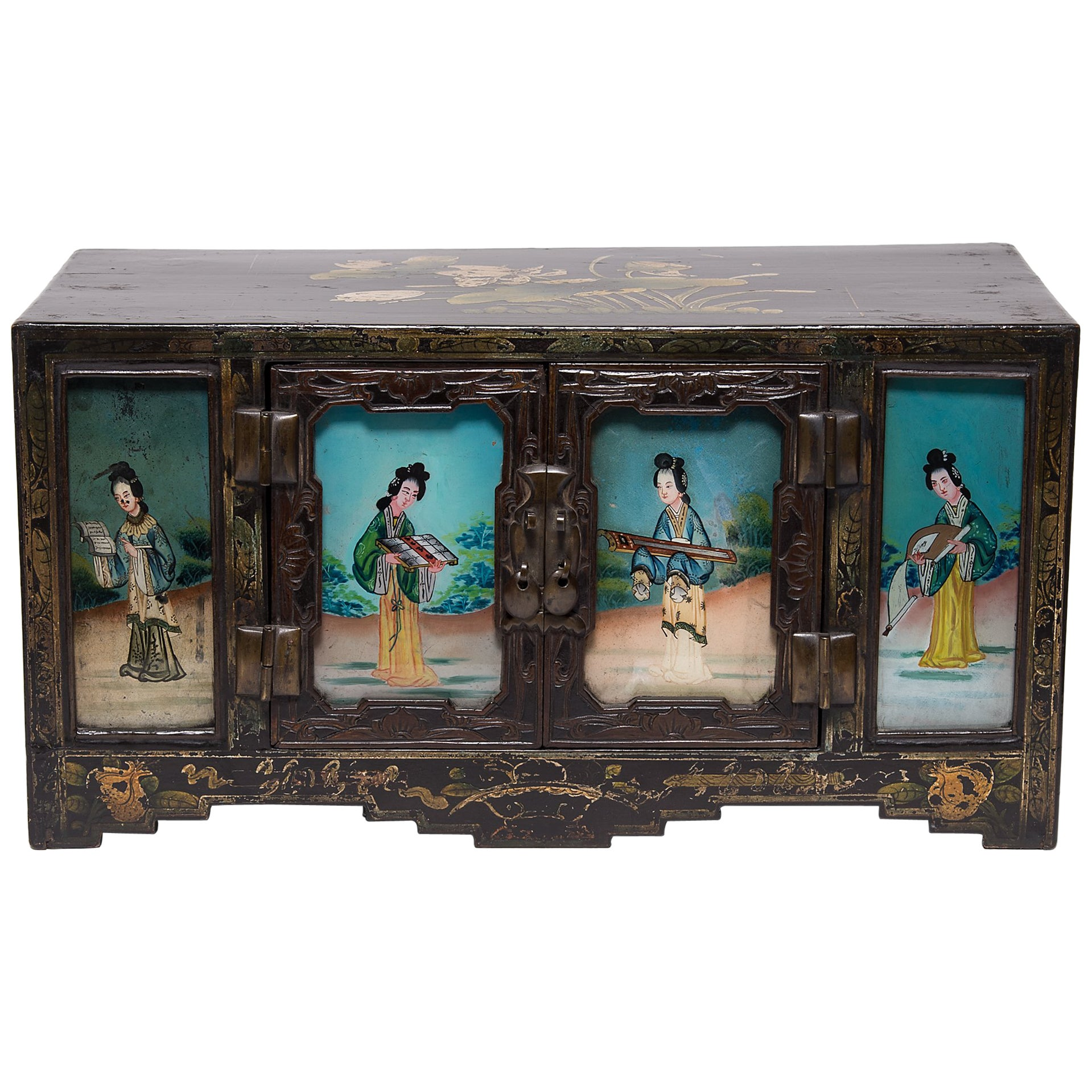 Chinese Treasure Chest with Reverse Glass Painted Panels. c. 1850