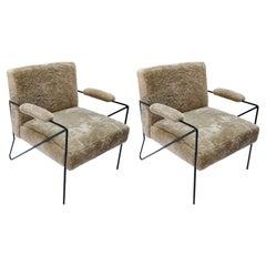 Custom Black Metal Armchairs in Tan Sheepskin