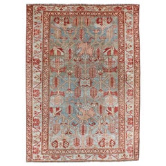 Red, Light Blue, and Peach Antique Persian Malayer Rug with Geometric Design