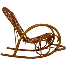 Midcentury French Wicker Bamboo Rocking Chair, 1960s